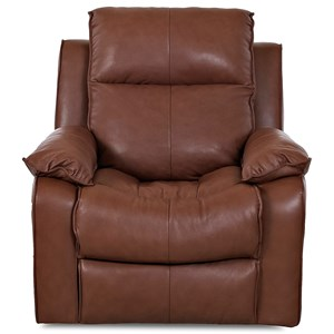 Casual Swivel Rocking Reclining Chair with Bucket Seat and Pillow Arms