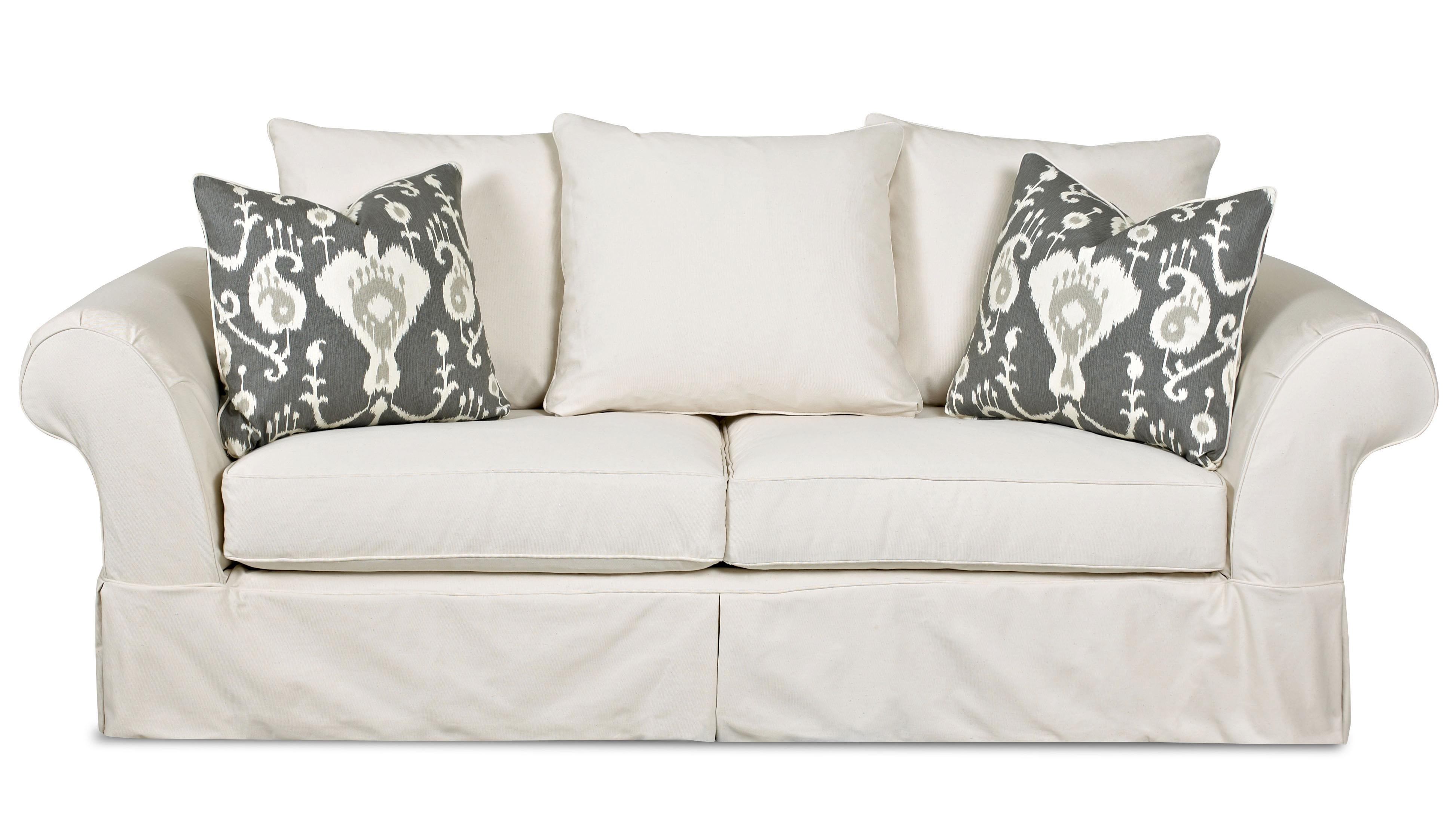 Charleston Sofa with Scatterback Pillows by Klaussner at Northeast Factory Direct