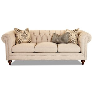 Traditional Chesterfield Sofa with Tack Nails