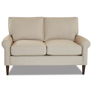 Casual Contemporary Loveseat with Round Tapered Legs