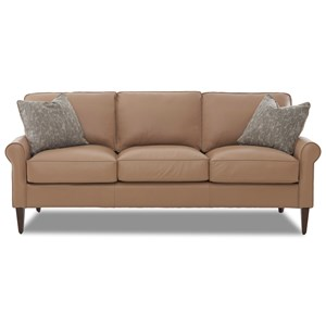 Casual Contemporary Sofa with Square Tapered Legs and Arm Pillows