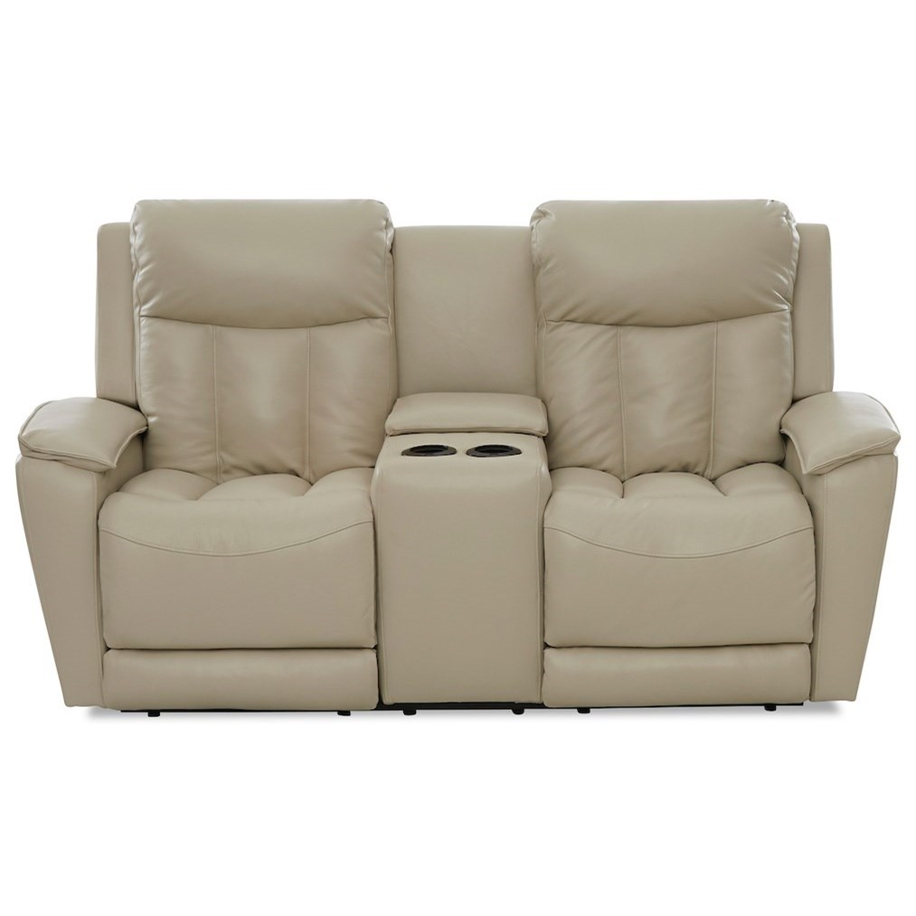 Clifford Console Pwr Reclining Love w/ Pwr Headrests by Klaussner at Johnny Janosik