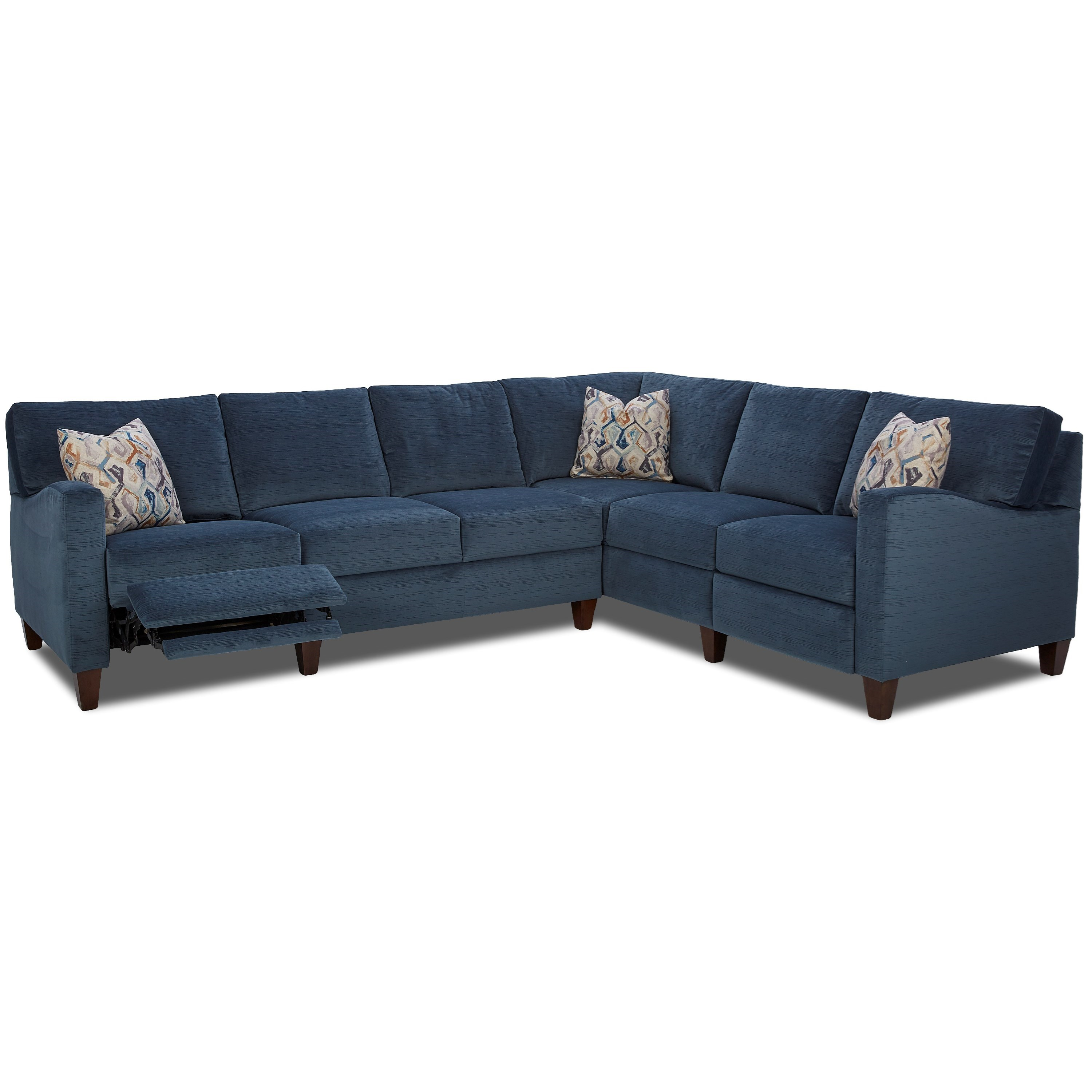 Colleen Hybrid Reclining Sectional w/ RAF Corn Sofa by Klaussner at Northeast Factory Direct