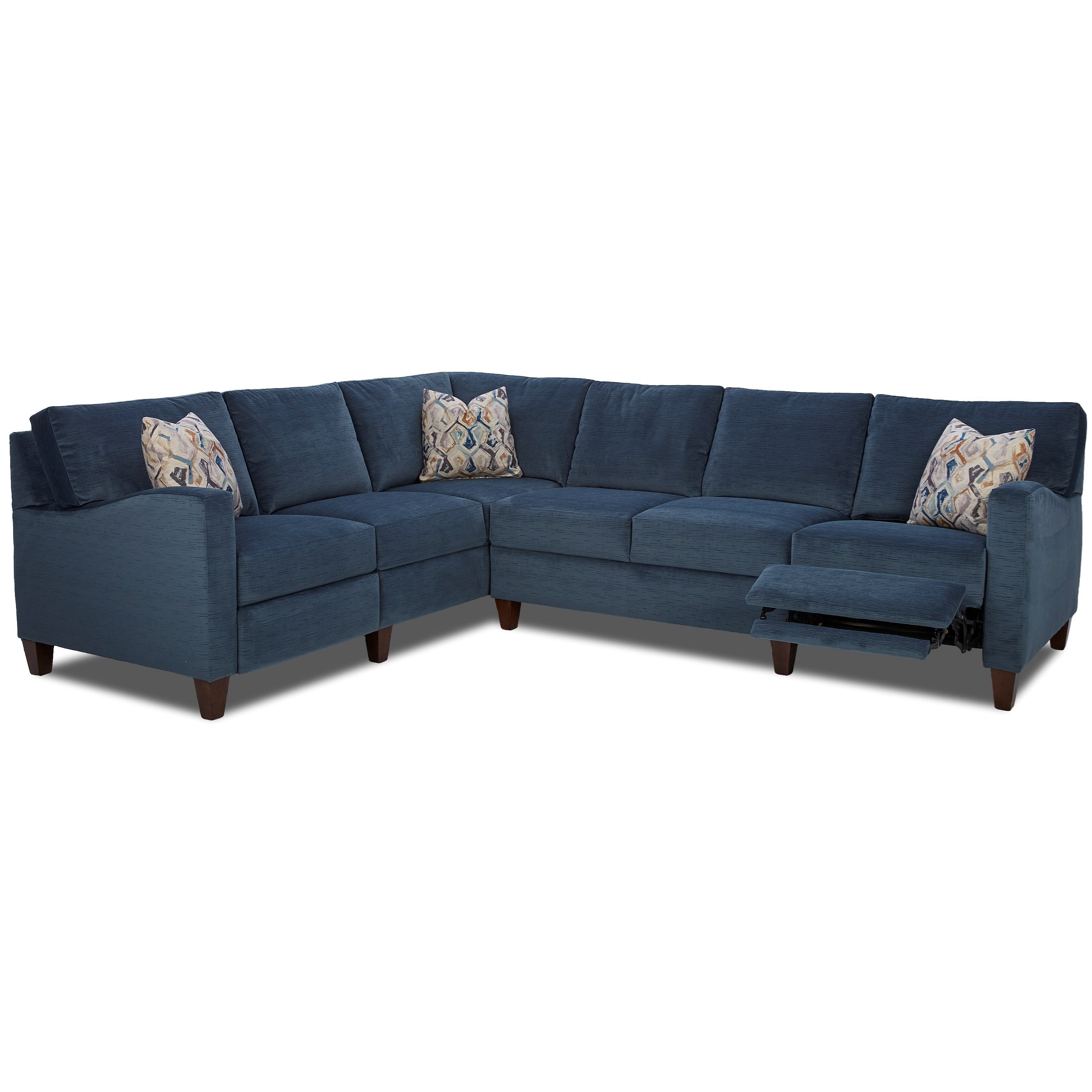 Colleen Hybrid Reclining Sectional w/ LAF Corn Sofa by Klaussner at Johnny Janosik