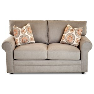 Casual Stationary Loveseat with Rolled Arms, Unattached Back and Welt Detail
