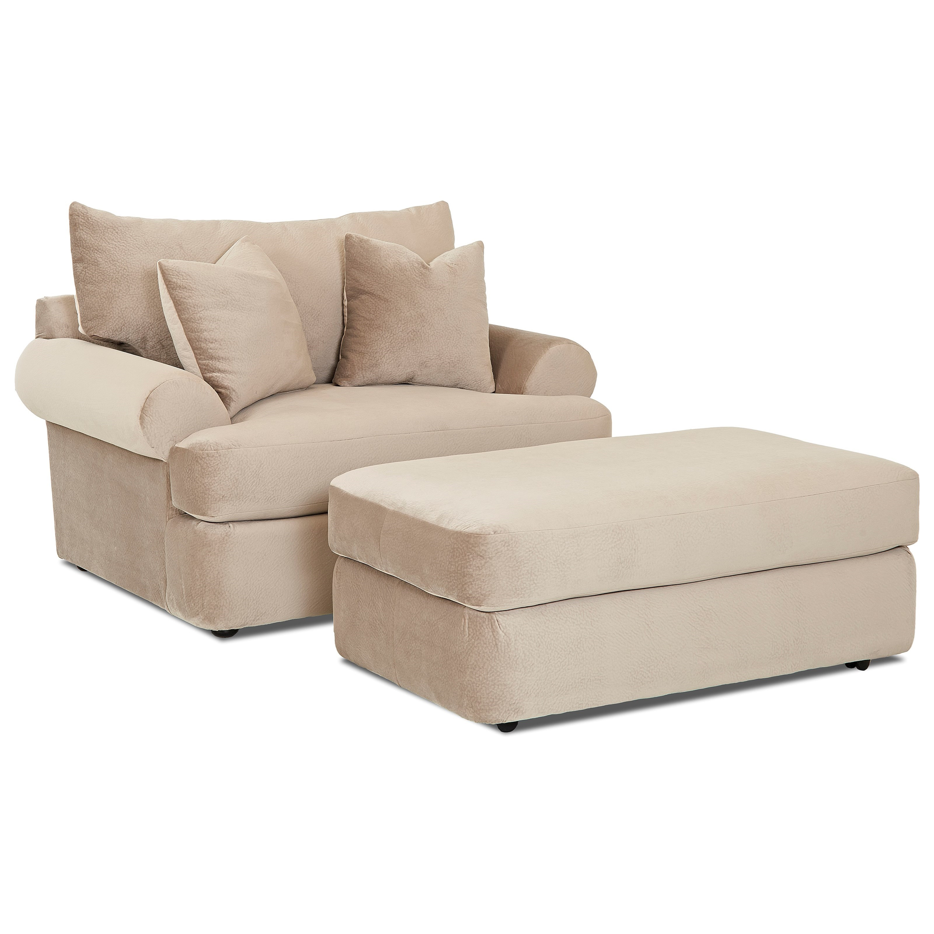 Cora Big Chair and Ottoman Set by Klaussner at Northeast Factory Direct
