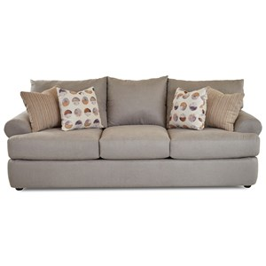 Casual Three Seat Sofa with Rolled Arms