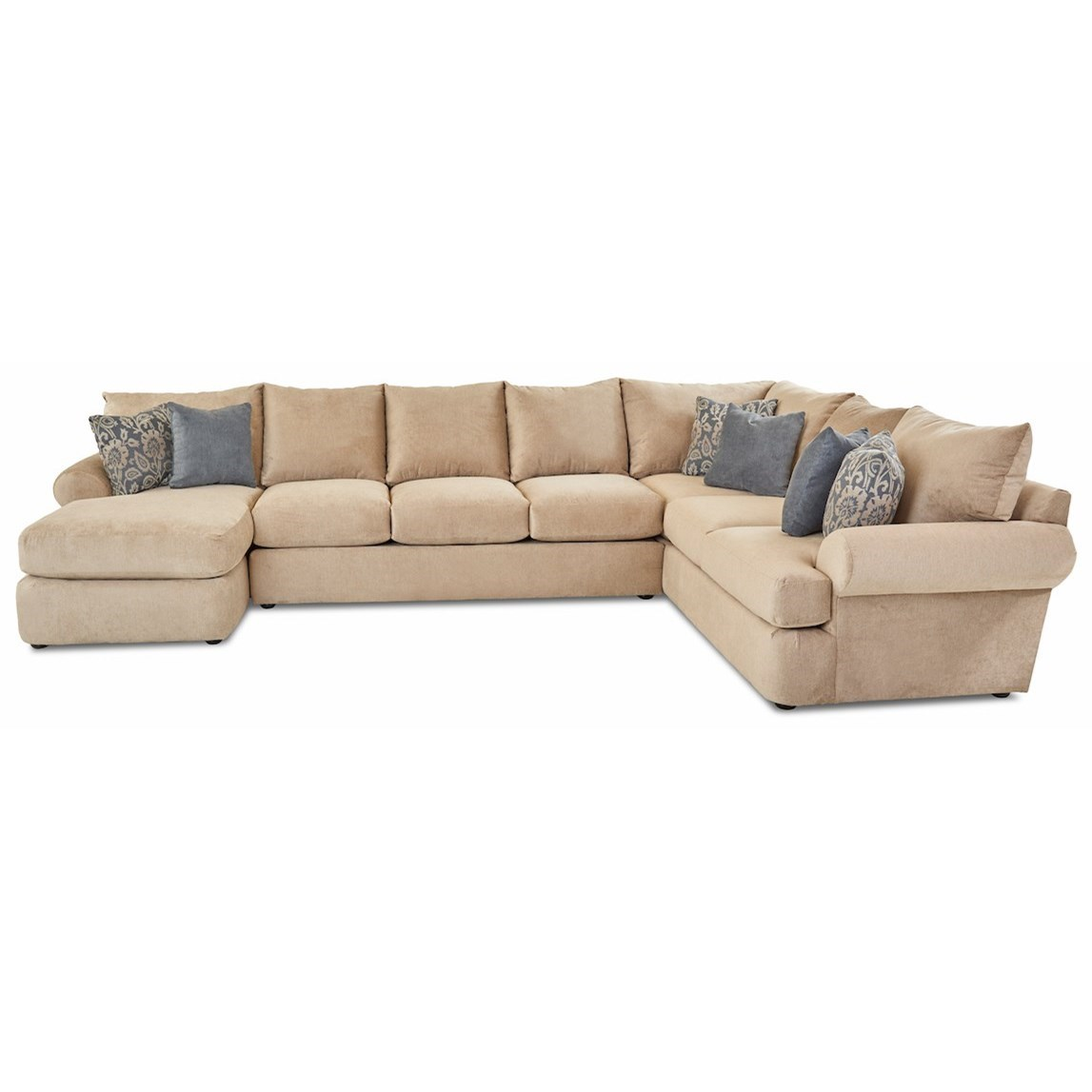 Cora 3-Piece Sectional Sofa w/ LAF Chaise by Klaussner at Johnny Janosik