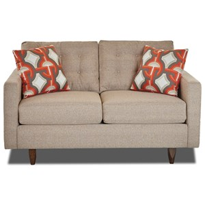 Contemporary Button-Tufted Loveseat with Tall Block Legs