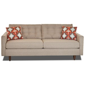 Contemporary Button-Tufted Sofa with Tall Block Legs