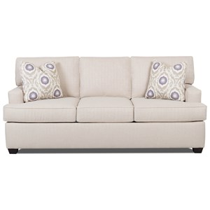 Contemporary Sleeper Sofa with Track Arms and Queen-Sized Air Coil Mattress