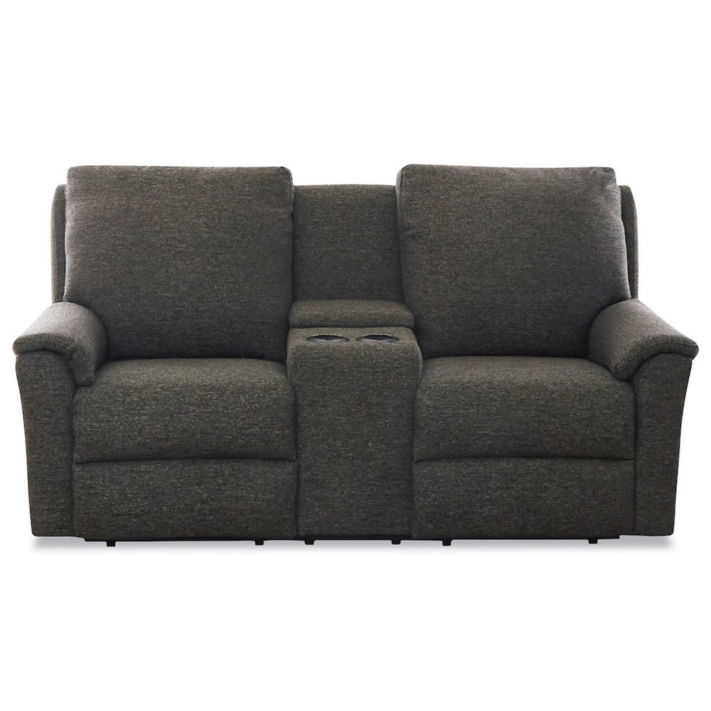 Davos Power Console Reclining Loveseat w/ Pwr Head by Klaussner at Johnny Janosik