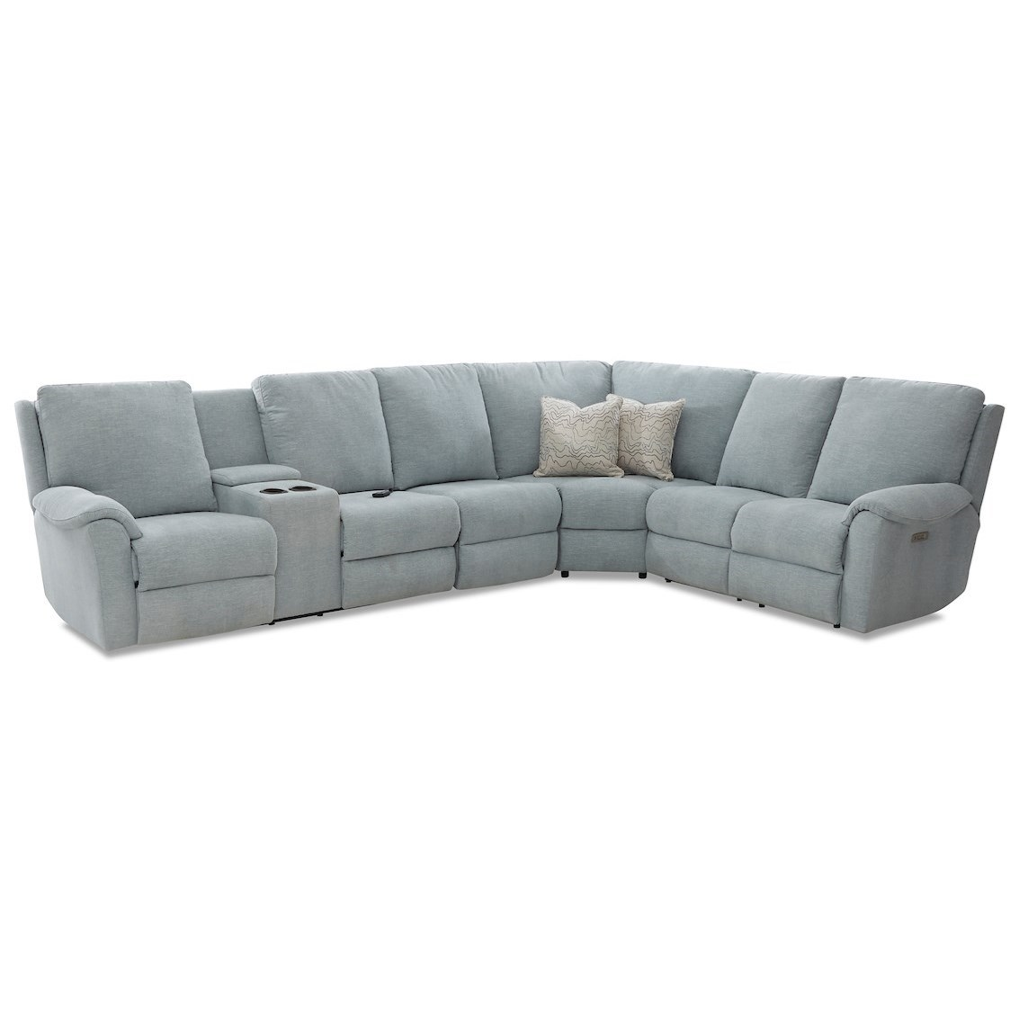 Davos Pwr Recline Sectional w/LAF Cnsl/Pwr Head/Lu by Klaussner at Johnny Janosik