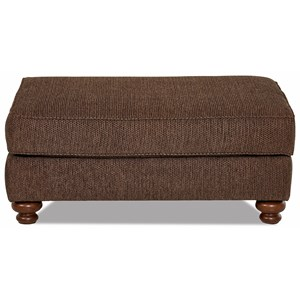 Traditional Oversized Ottoman with Turned Wood Legs