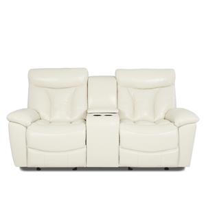 Casual Reclining Love Seat with Console