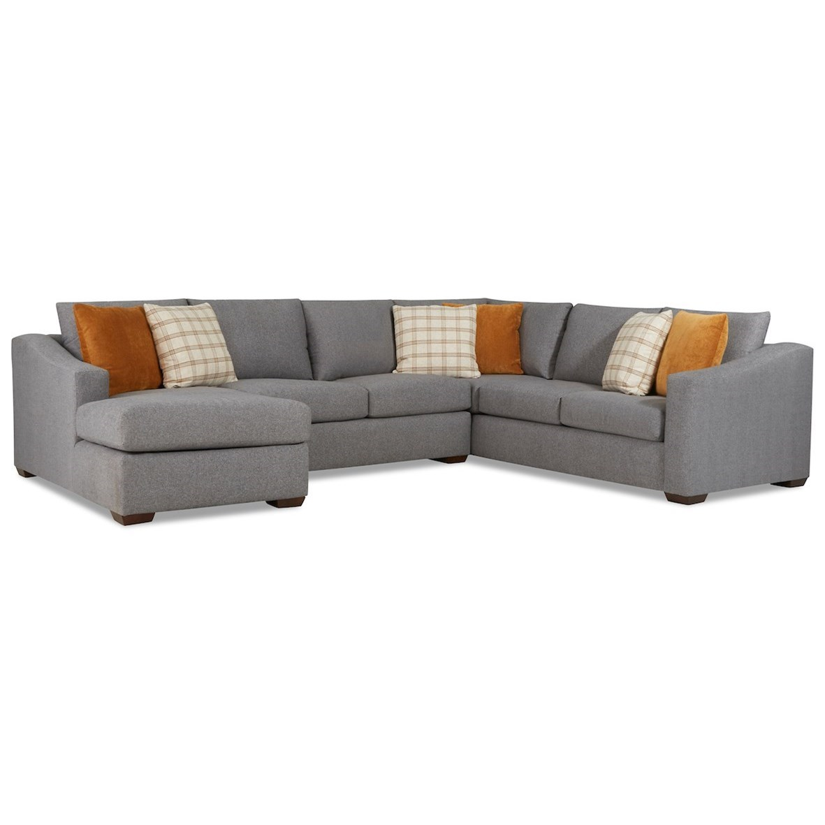 Demi 5-Seat Sectional Sofa w/ LAF Chaise by Klaussner at Johnny Janosik