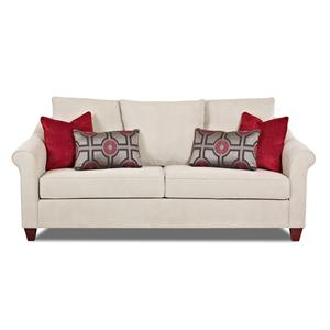 Transitional Sofa with Tapered Legs and Accent Pillows