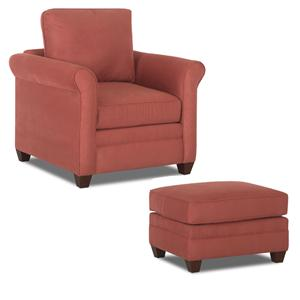 Chair & Ottoman with Tapered Bun Feet