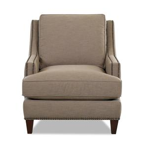 Transitional Nailhead Wing Back Chair with Blend Down Cushions