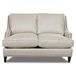 Transitional Nail Head Wing Back Loveseat with Blend Down Cushions