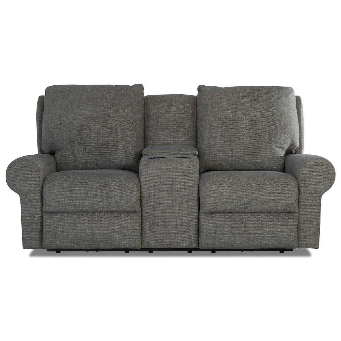 Eddison Power Console Reclining Loveseat w/ Pwr Head by Klaussner at Johnny Janosik