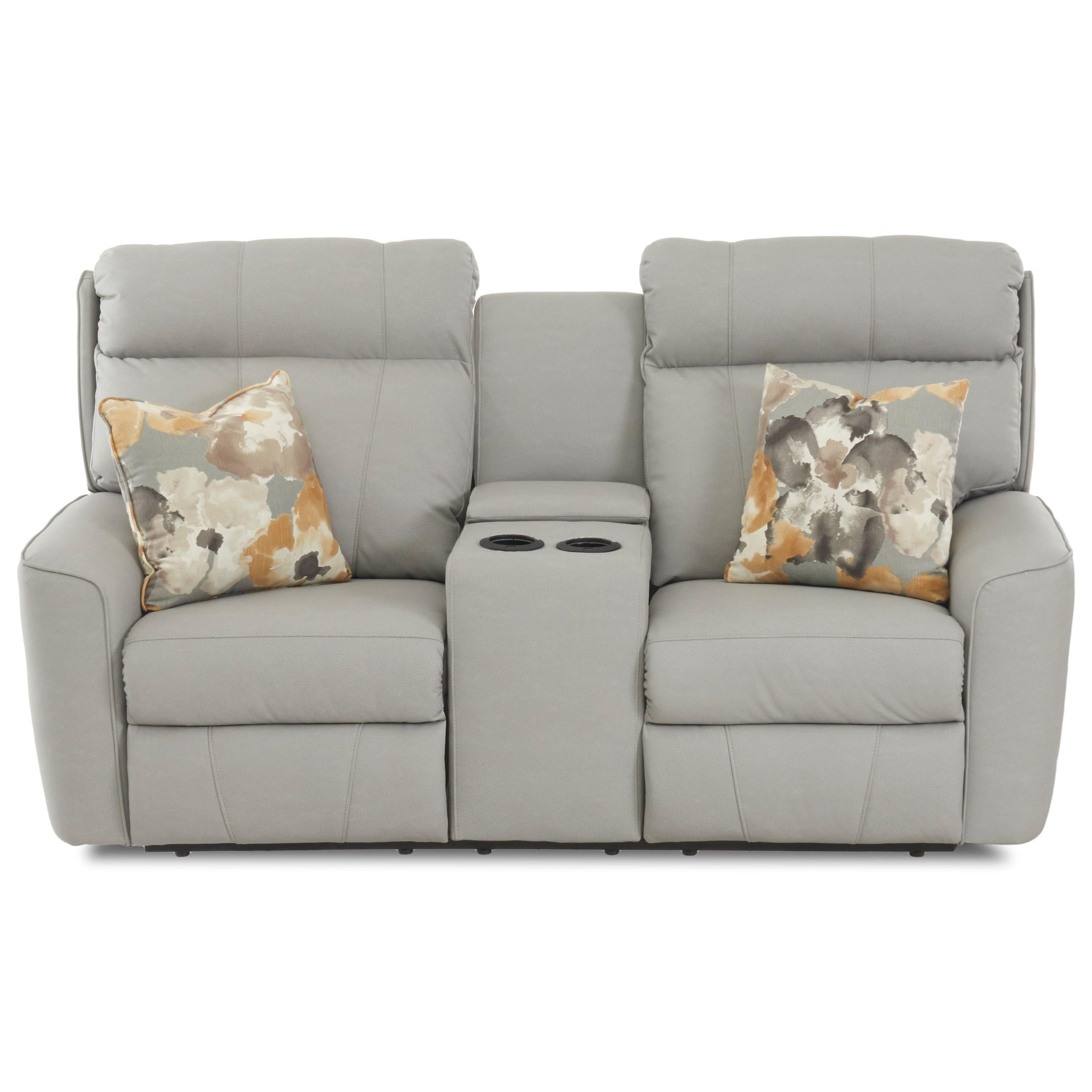Elara Console Reclining Loveseat w/ Pillows by Klaussner at Lapeer Furniture & Mattress Center