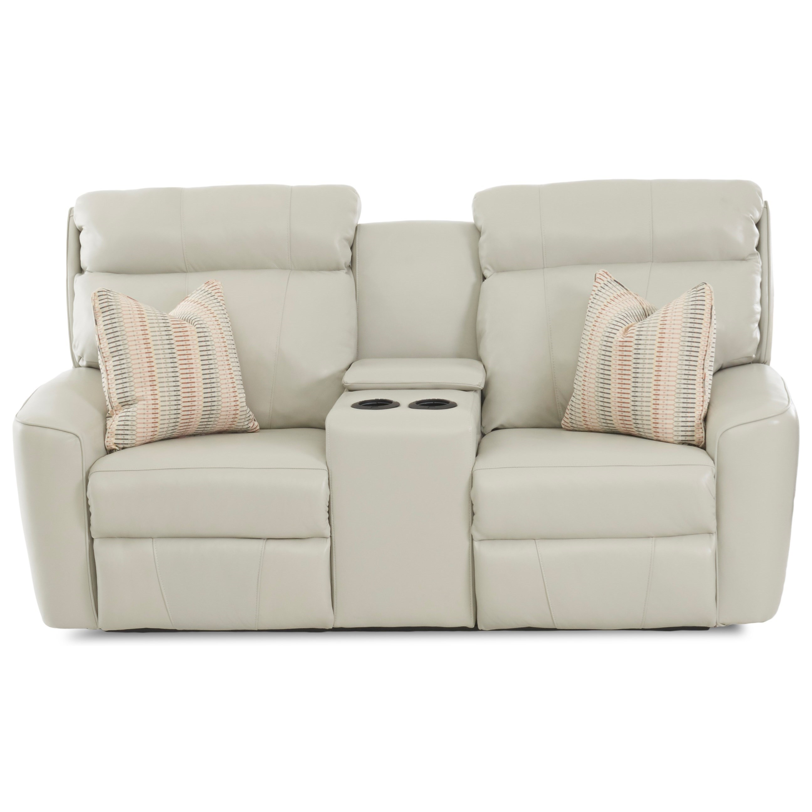 Elara PwrRecl LS w/console w/ head/Lumb w/ Pillows by Klaussner at Lapeer Furniture & Mattress Center