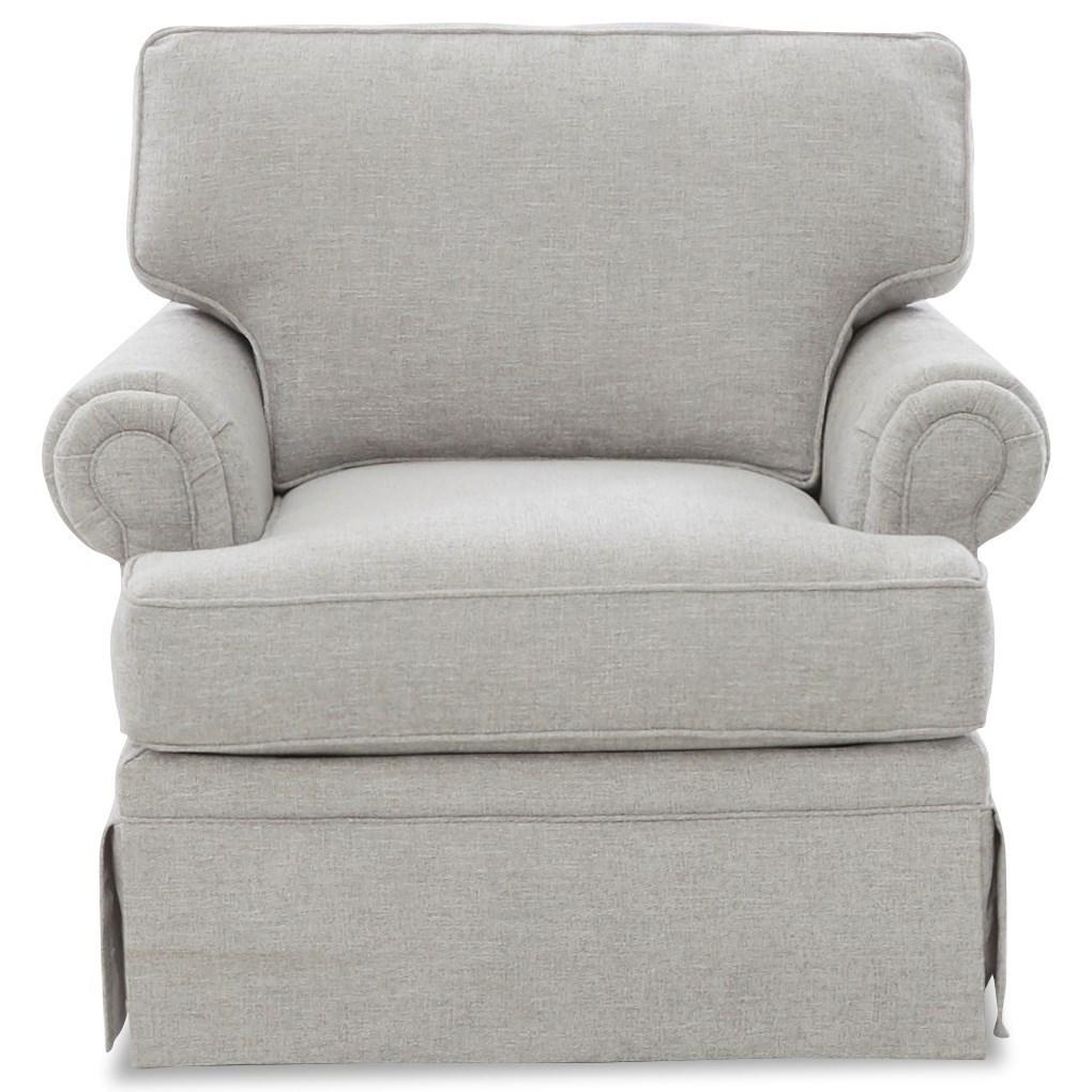 Ella Swivel Glider Chair w/ Kool Gel Seat Cushion by Klaussner at Northeast Factory Direct