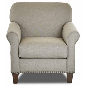 Transitional Customizable Chair with Rolled Sock Arms