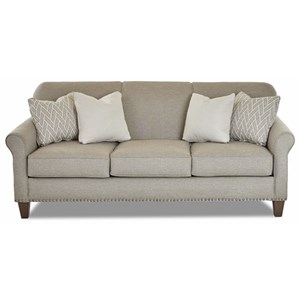 Transitional Customizable Sofa with Thin Rolled Arms