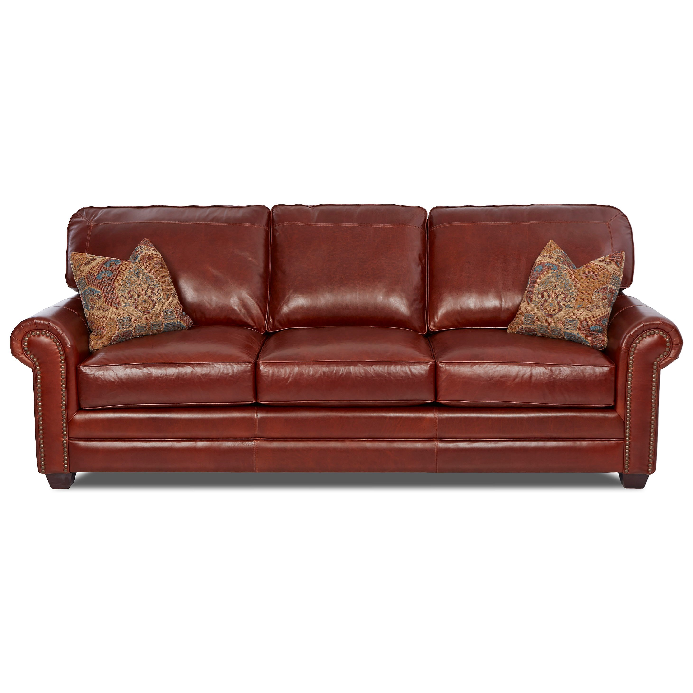 Epic Sofa w/ Nailheads & Pillows by Klaussner at Northeast Factory Direct
