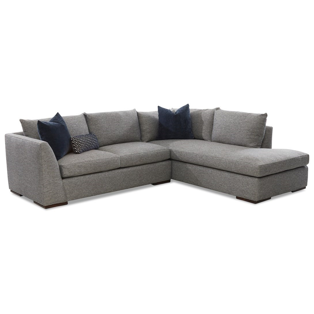Flagler 2-Piece Sectional Sofa w/ RAF Sofa Chaise by Klaussner at Northeast Factory Direct
