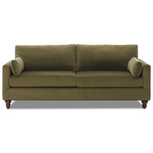 Sofa with Nailhead Trim and Turned Feet