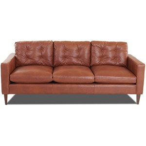 Mid-Century Modern Sofa with Button Tufted Back