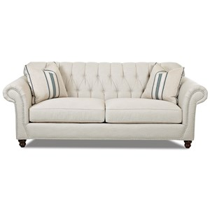 Traditional Sofa with Button Tufted Back, Rolled Arms and Throw Pillows