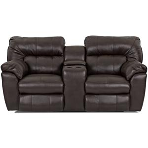 Casual Reclining Love Seat with Pillow Top Arms and Storage Console
