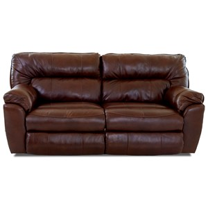 Casual Power Reclining Love Seat with Pillow Top Arms