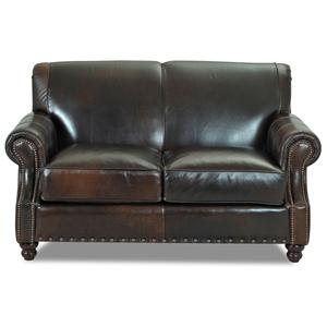 Traditional Leather Loveseat with Nail Head Trim
