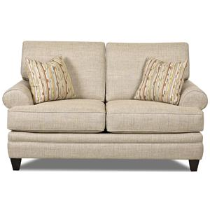 Transitional Loveseat with Low Profile Rolled Arms