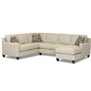 Contemporary Stationary Sectional with Track Arms, Right Side Facing Chaise and Down Blended Cushions