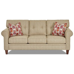Casual Sofa with Button Tufted Back Cushions