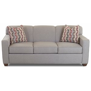 Contemporary Air Coil Queen Sleeper Sofa with Tight Back and Track Arms