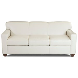 Contemporary Leather Innerspring Queen Sleeper Sofa with Tight Back and Track Arms