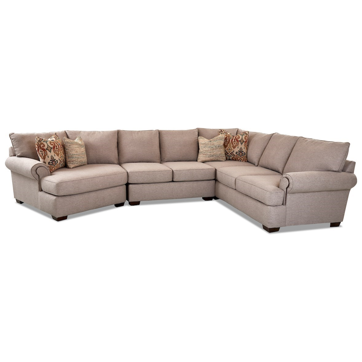 Ginger 5-Seat Sectional Sofa w/ LAF Cuddler Chair by Klaussner at Johnny Janosik