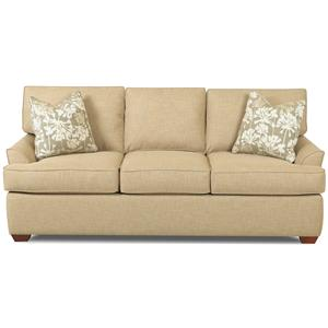 Contemporary 3 Seat Sofa with Flared Arms and T-Seat Cushions