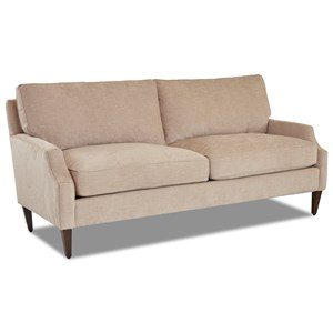 Casual 2-Over-2 Sofa with Scalloped Arms