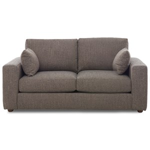 Contemporary Customizable Loveseat with Thick Track Arms
