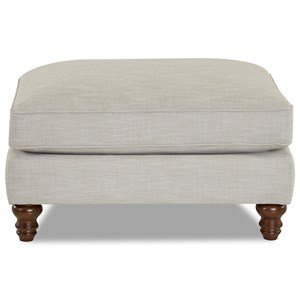 Transitional Ottoman with Turned Legs