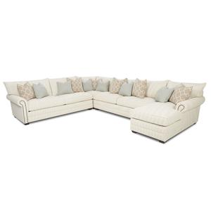 Traditional Sectional Sofa with Nailhead Trim and Chaise Lounge