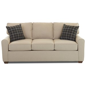 Casual Stationary Sofa with Box Seat Cushions and Welt Cord Trim